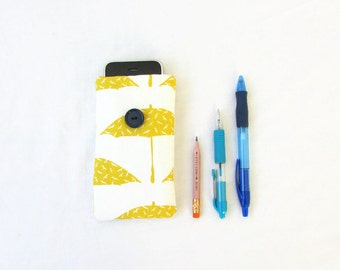 Umbrella Iphone case, Iphone cover, hand printed fabric, cell phone sleeve Iphone 5s 5c 4s samsung galaxy s2, small gift, handmade in the UK