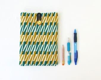 Ipad mini case, green and gold hand printed fabric, IPad mini sleeve, fabric tablet cover, samsung galaxy 7, handmade in the UK