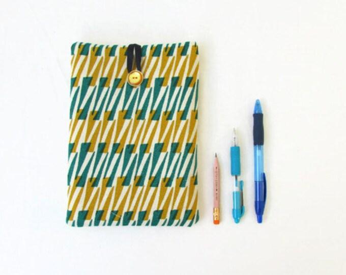 Ipad mini case, green and gold hand printed fabric, handmade in the UK
