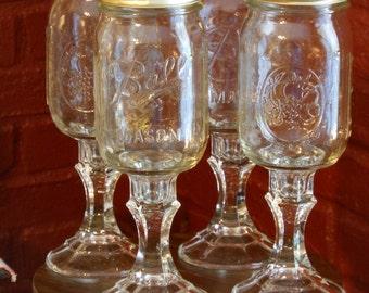 "Set of Four ""Redneck Wine Glasses"""