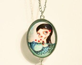 "Mermaid necklace with pearl: ""Pandora's box"", art by Susann Brox Nilsen. Oceanic, best friend gift, wedding, water, black hair girl, cartoon"