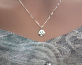 Sterling Silver Simple V Initial Necklace, Silver Stamped V Necklace, Stamped V Initial Necklace, Small V Initial Necklace, V Initial Charm
