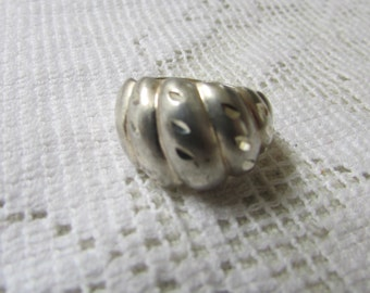 Vintage large diamond cut sterling dome or shrimp ring size 6.75 statement ring pinky ring
