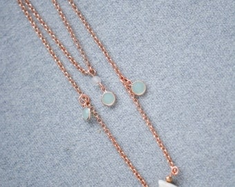 Rose Gold Layered Necklace with gemstones