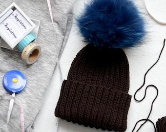 Baby pom pom hat, Unisex baby hat, Kids knit hats, Brown hat with fur pom pom, Fur pom knit hat, Knitted hat for adults, Knitted hat for kid