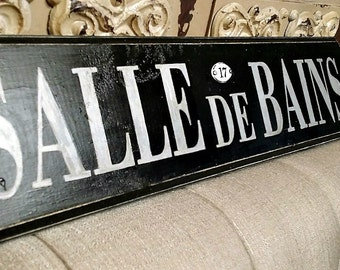 French Sign, French Bathroom Sign, Salle de Bains Sign