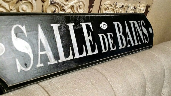 Items similar to french sign french bathroom sign salle for Salle de bain in french