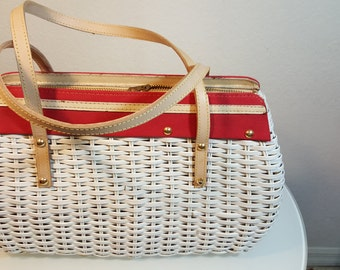 FREE  SHIPPING  Vintage 1950 Large Wicker Handbag