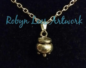 Tiny 3D Silver Witch's Cauldron Necklace on Silver Crossed Chain
