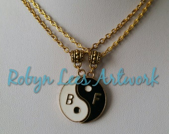 Best Friends BF Yin Yang Gold Necklace Set of 2 Necklaces on Gold Crossed Chain, Couples