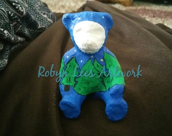 Hand Painted Midnight in the Forest Teddy Bear Ornament Figure with Trees, Star and Featureless Moon Face with CoA