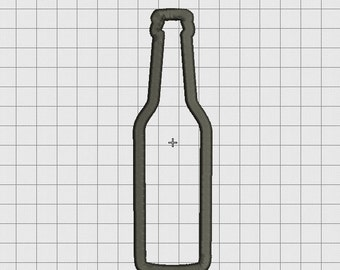 Beer Long Neck Bottle Applique Embroidery Design in 4x4 5x7 and 6x10 Sizes