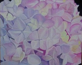 Original oil painting Pink and yellow Hydrangea