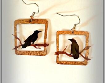 crow earrings, raven earrings, crow jewelry, corvus jewelry, gothic crow, square earrings, copper patina, blackbird earrings, made in Canada