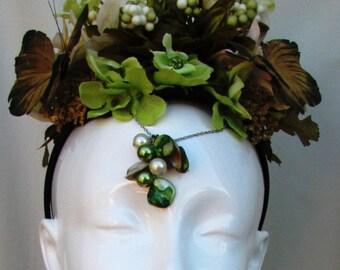 Green Butterfly Garden Headband