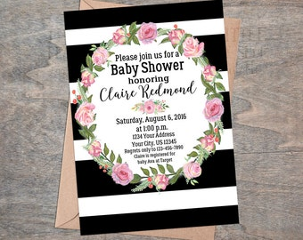 Black and White Stripe Baby Shower Invitation | Watercolor flowers wreath Digital Printable file
