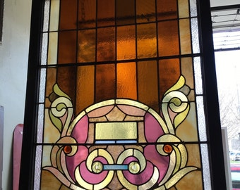 Antique Reclaimed Stained Glass Church Window - See shipping details in listing
