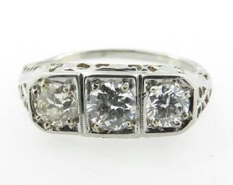Vintage Estate 18 kt White Gold 3 Diamond Ring.