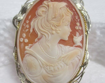 Vintage Large White / Yellow 18 kt Gold Hand Made Finely Carved Shell Cameo / Pin / Pendant of a Young Maiden w/ Birds, Flowers & Leaves .