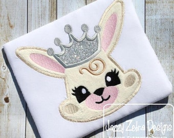 Princess Bunny Applique embroidery Design - Easter applique design - bunny appliqué design - rabbit appliqué design - girl appliqué design