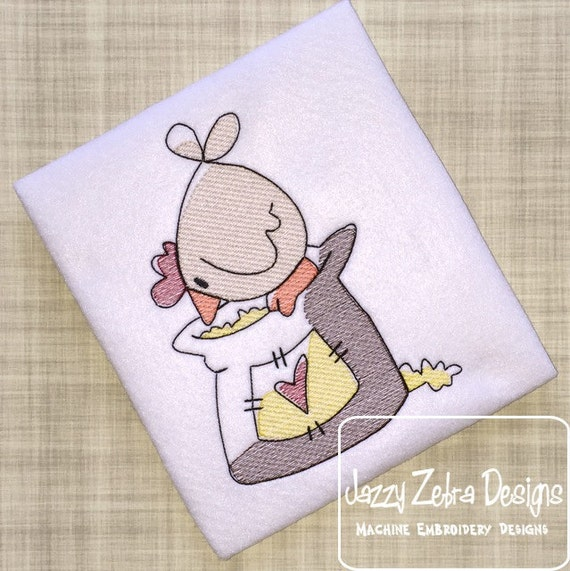 Chicken with Feed Sack Sketch Embroidery Design - chicken Sketch Embroidery Design - farm Sketch Embroidery Design - kitchen Sketch