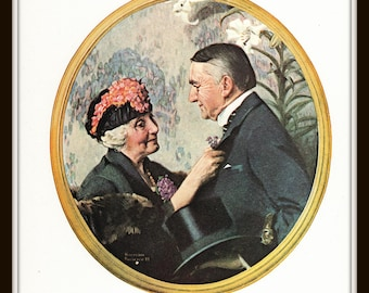 Anniversary Art Print, Portrait of a Couple, 8 x 10, Classic 1922 Norman Rockwell Art, Vintage Book Page Illustration, Ready to Frame