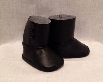 """18"""" doll boots: Black vinyl boots with button detail"""