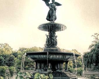 NYC Print, Central Park, Angel Print, Bethesda Fountain, NYC Art, Travel Photography, New York Print, Neutral Home Decor