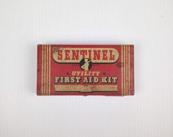 Complete Vintage 1940s Metal First Aid Kit Medical Kit Sentinel Vintage First Aid Kit Old Metal First Aid Kit Minute Man Advertising Tin