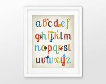 Boys Nursery Alphabet Print - Playroom Decor - ABC Alphabet Picture - Boys Room Wall Art - Baby Shower Gift Idea - Preschool Poster #203