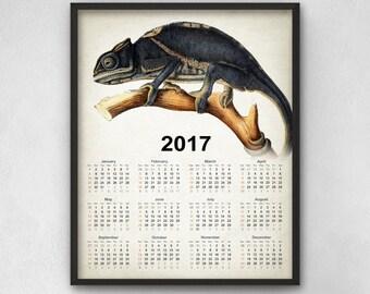 Vintage Chameleon Calendar 2017 #2 - Chameleon Reptile Art - 2017 Chameleon Lizard Reptile Calendar - 2017 Chameleon Lizard Calendar