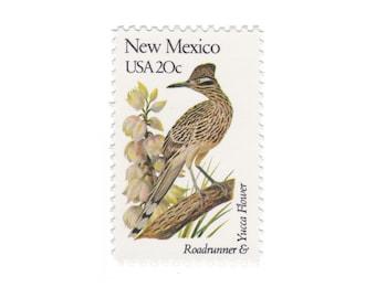1982 New Mexico - Roadrunner & Yucca Flower - Vintage Postage Stamps - 10 Unused 20c US Stamps - Item No. 1983