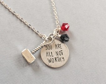 Marvel Avengers Thor Necklace. You Are All Not Worthy