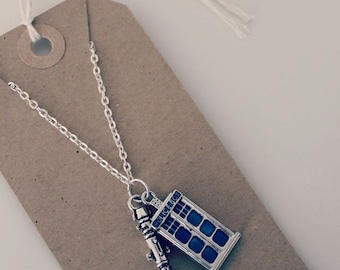 "Dr Who Inspired ""Screwdriver and Tardis"" Necklace"