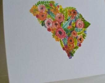 Floral South Carolina Notecards