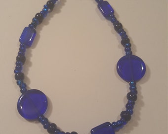 Blue beaded 10in. ankle bracelet handmade