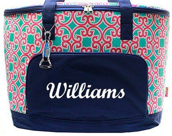 Monogrammed Cooler  Turquoise, Pink and Navy Scroll Insulated Monogrammed Cooler Bag  Personalized Tailgating Cooler