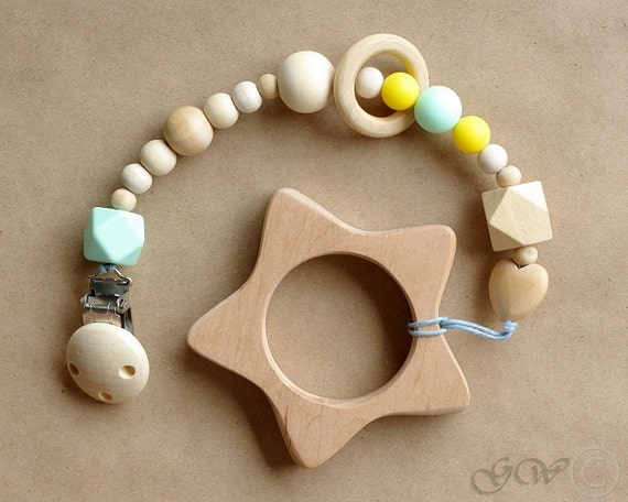Pacifier Clip Pacifier Holder Teething Toy Wooden Teether