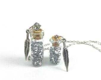 Angel Tears Bottle Pendants; Angel Tears Glass Jar Pendant; Jar of Crystal Jewelry