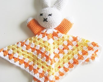 Easter Bunny Snuggly, stuffed bunny, rabbit plushy, baby lovey, rabbit stuffy, orange cotton bunny, Easter basket, stuffed animals, yellow