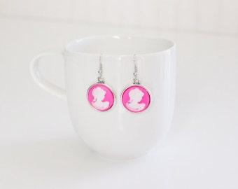 Victorian Lady Pink White Cameo Earrings