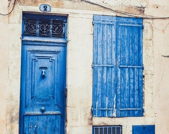 Bleu Fine Art Print Provencial Southern France French Home Decor Large Wall Canvas Art 16x24 8x12 11x17 20x30 Blue Door Rustic Colorful