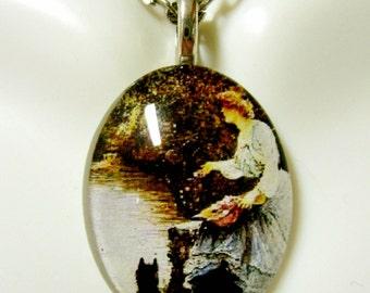 Scotty at the lake glass pendant - DGP12-033