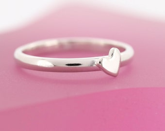 Sterling Silver Heart Ring - Stacking Ring - Heart Jewellery - Tiny Love Heart