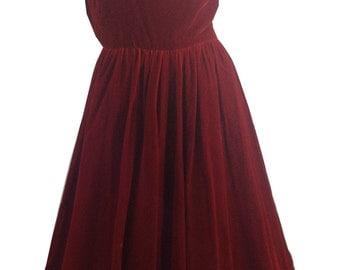 vintage 1960s Blouson Back Ruby Velvet Party Dress S