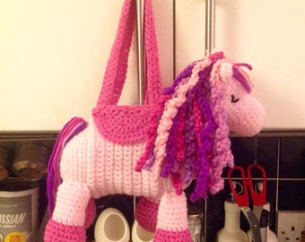 Crochet horse bag