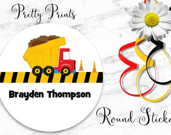 Dump Truck Stickers - Personalized Stickers - Set of 12 Round Labels - Custom Labels - Personalized Labels - School Stickers - Gift Tags