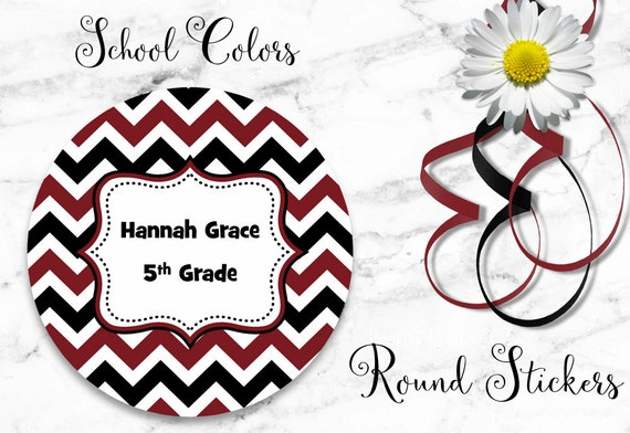 Chevron Stickers - School Colors - Maroon - Black - Personalized Stickers - Round Labels - Personalized Labels - Tags