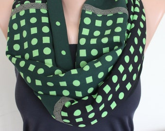 Green Black Scarf, Geometrical Loop Scarf, Polka Dot Loop Scarf, Womens Scarf, Neon Green Scarf, Green Black Lace Cotton Scarf, Gift For Her