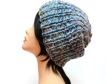 Winter Beanie, Womens knitted beanie, Blue Chunky Beanie, romantic gifts, bulky hat, Women Knit Hat, gift for women, Oversized Beanie